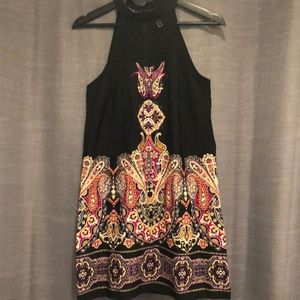 Paisley and Black Lace High Neck Line Dress